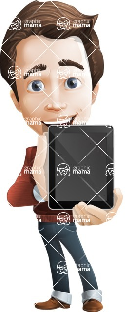 male vector cartoon character graphic design - Sam The Workaholic - iPad1