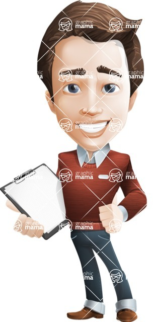 male vector cartoon character graphic design - Sam The Workaholic - Notepad2