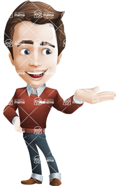 male vector cartoon character graphic design - Sam The Workaholic - Showcase2