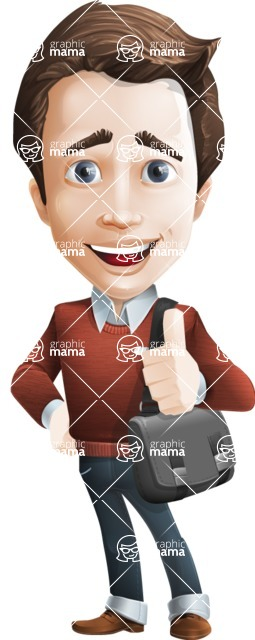 male vector cartoon character graphic design - Sam The Workaholic - Travel2