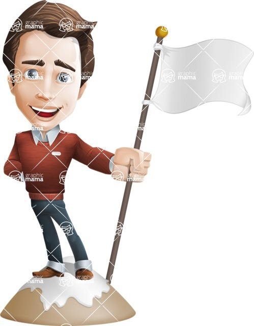 male vector cartoon character graphic design - Sam The Workaholic - On Top