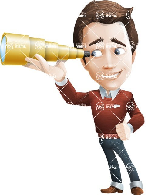 male vector cartoon character graphic design - Sam The Workaholic - Telescope