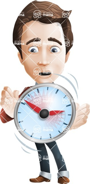 male vector cartoon character graphic design - Sam The Workaholic - Time is Up