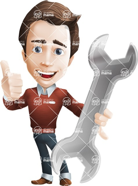 male vector cartoon character graphic design - Sam The Workaholic - Repair