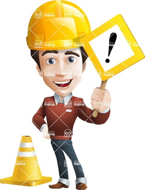 male vector cartoon character graphic design - Sam The Workaholic - Under Construction1