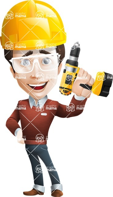 male vector cartoon character graphic design - Sam The Workaholic - Under Construction2