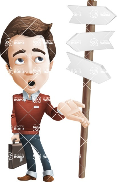 male vector cartoon character graphic design - Sam The Workaholic - Crossroad