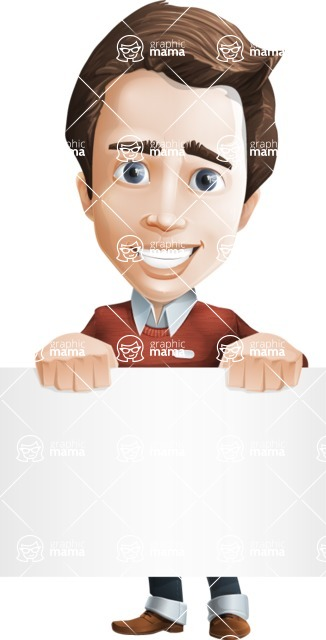 male vector cartoon character graphic design - Sam The Workaholic - Sign2