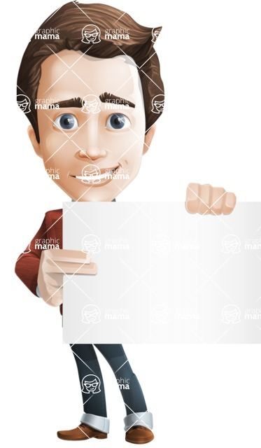 male vector cartoon character graphic design - Sam The Workaholic - Sign3