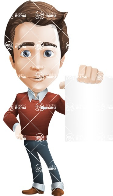 male vector cartoon character graphic design - Sam The Workaholic - Sign4