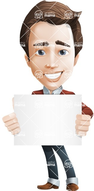 male vector cartoon character graphic design - Sam The Workaholic - Sign5