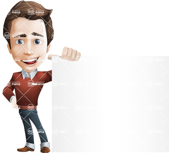 male vector cartoon character graphic design - Sam The Workaholic - Sign8
