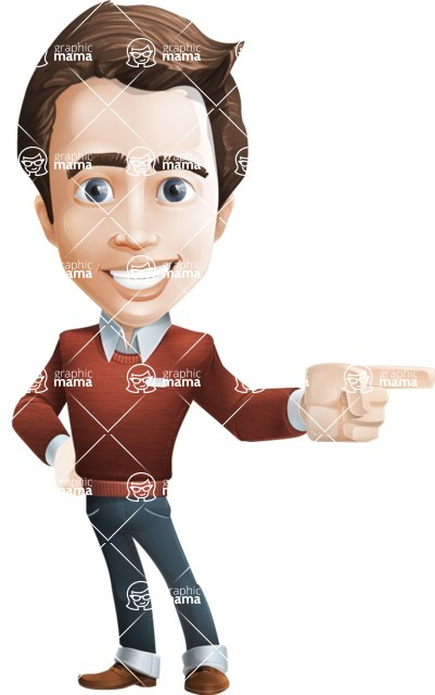 male vector cartoon character graphic design - Sam The Workaholic - Point