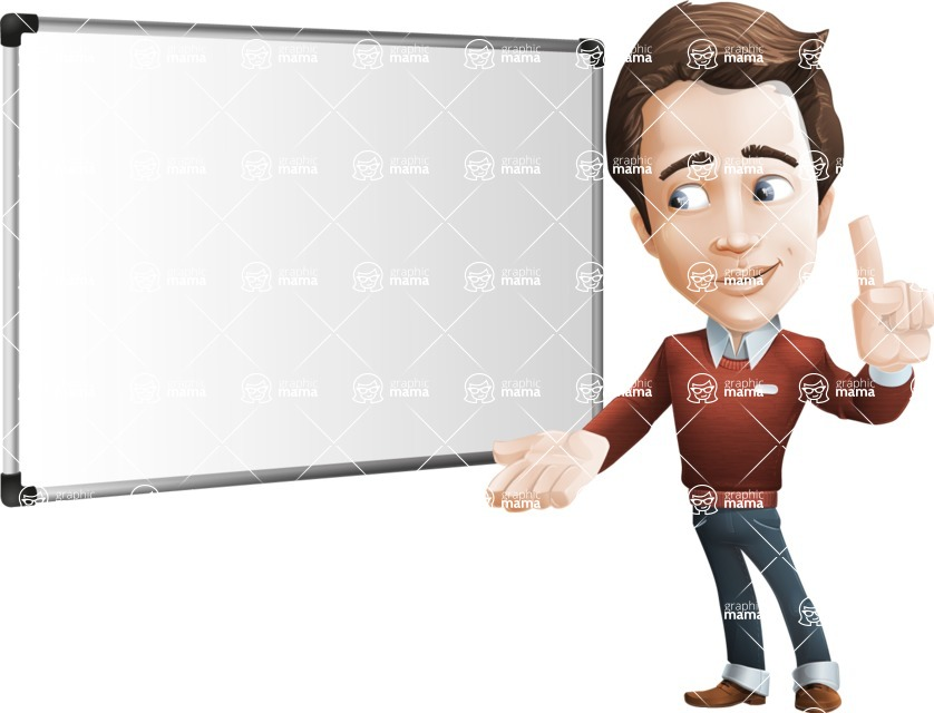 male vector cartoon character graphic design - Sam The Workaholic - Presentation5