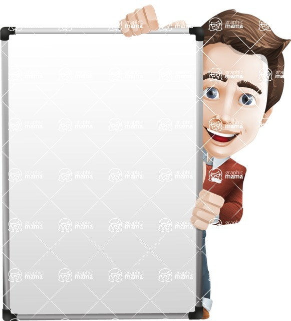 male vector cartoon character graphic design - Sam The Workaholic - Presentation6