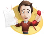 male vector cartoon character graphic design - Sam The Workaholic - male vector character casually dressed, smart and diligent talking phone