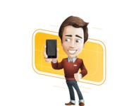 male vector cartoon character graphic design - Sam The Workaholic - male vector character casually dressed showing mobile phone