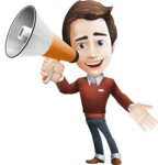 male vector cartoon character graphic design - Sam The Workaholic - Loudspeaker