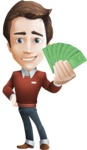 male vector cartoon character graphic design - Sam The Workaholic - Show me the money