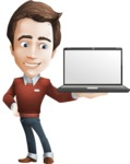 Vector Working Man Cartoon Character in 112 Poses - Laptop2