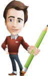 Vector Working Man Cartoon Character in 112 Poses - Pencil