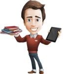 male vector cartoon character graphic design - Sam The Workaholic - Book and iPad