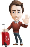 male vector cartoon character graphic design - Sam The Workaholic - Travel1