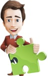 Vector Working Man Cartoon Character in 112 Poses - Puzzle