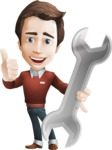 Vector Working Man Cartoon Character in 112 Poses - Repair