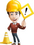 Vector Working Man Cartoon Character in 112 Poses - Under Construction1