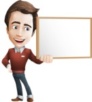 male vector cartoon character graphic design - Sam The Workaholic - Presentation1