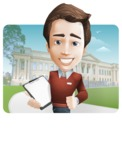 male vector man cartoon character graphic design - Sam The Workaholic - male vector man cartoon character casually dressed, smart and diligent - with city background