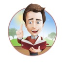 male vector cartoon character graphic design - Sam The Workaholic - male vector character casually dressed reading book open background