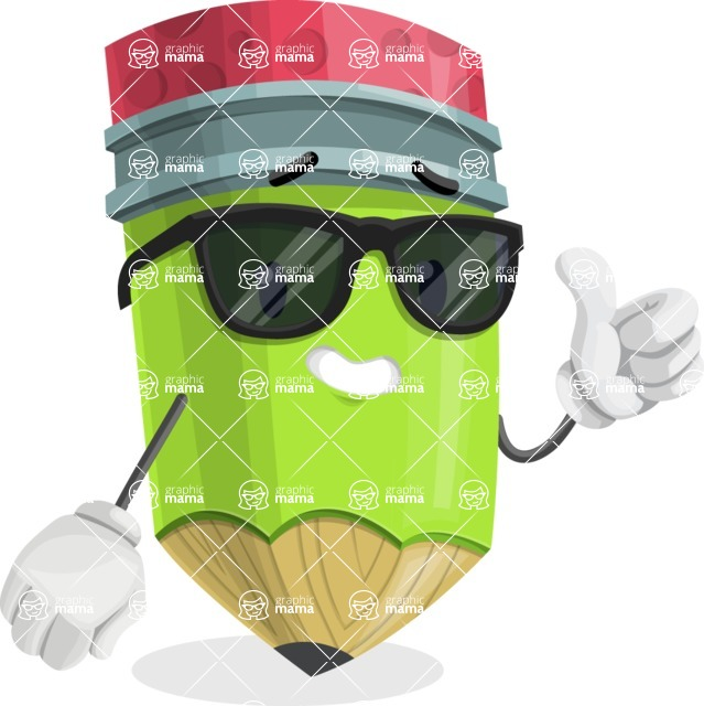 Cute Pencil Cartoon Vector Character AKA Woody the Nerdy Pencil - Being Cool with Sunglasses