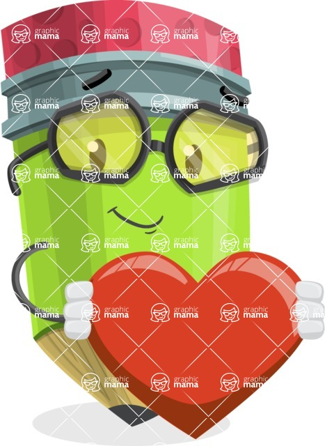 Cute Pencil Cartoon Vector Character AKA Woody the Nerdy Pencil - Being Romantic With Heart