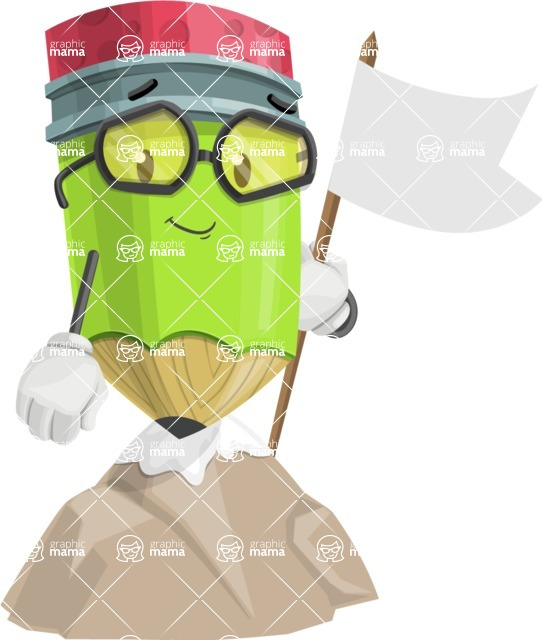 Cute Pencil Cartoon Vector Character AKA Woody the Nerdy Pencil - Being Successful on Top