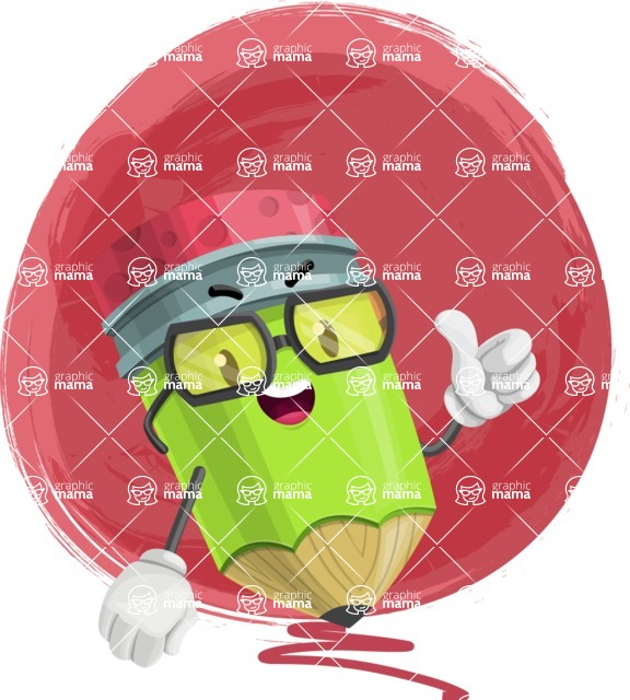 Cute Pencil Cartoon Vector Character AKA Woody the Nerdy Pencil - Drawing Illustration Concept