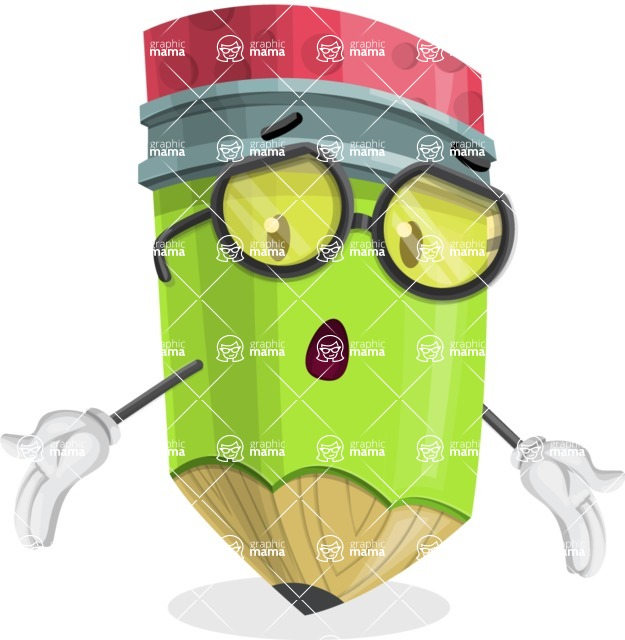 Cute Pencil Cartoon Vector Character AKA Woody the Nerdy Pencil - Feeling Lost with Sad Face