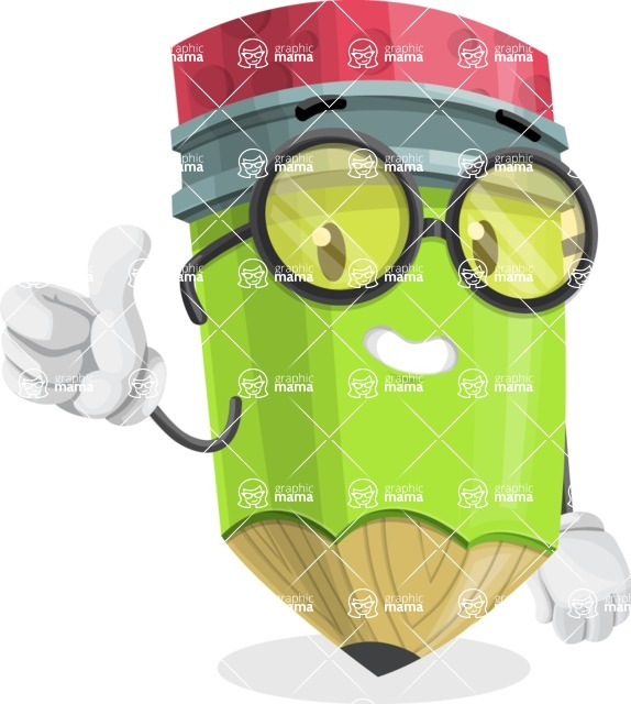 Cute Pencil Cartoon Vector Character AKA Woody the Nerdy Pencil - Giving Thumbs Up