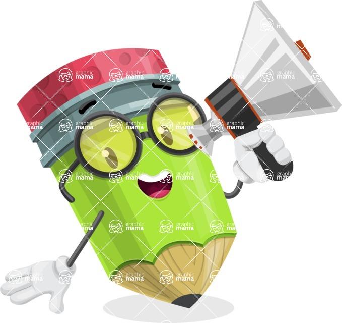 Cute Pencil Cartoon Vector Character AKA Woody the Nerdy Pencil - Holding a Loudspeaker
