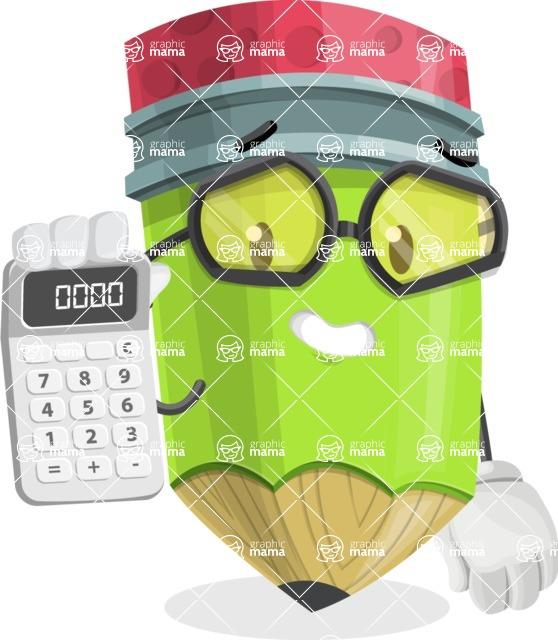 Cute Pencil Cartoon Vector Character AKA Woody the Nerdy Pencil - Holding Calculator