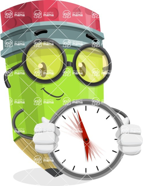 Cute Pencil Cartoon Vector Character AKA Woody the Nerdy Pencil - Holding clock