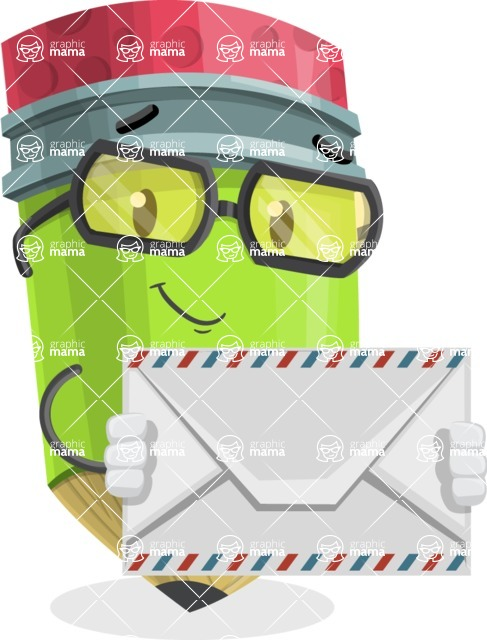 Cute Pencil Cartoon Vector Character AKA Woody the Nerdy Pencil - Holding Mail Envelope