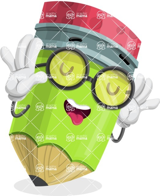 Cute Pencil Cartoon Vector Character AKA Woody the Nerdy Pencil - Making a Funny Face