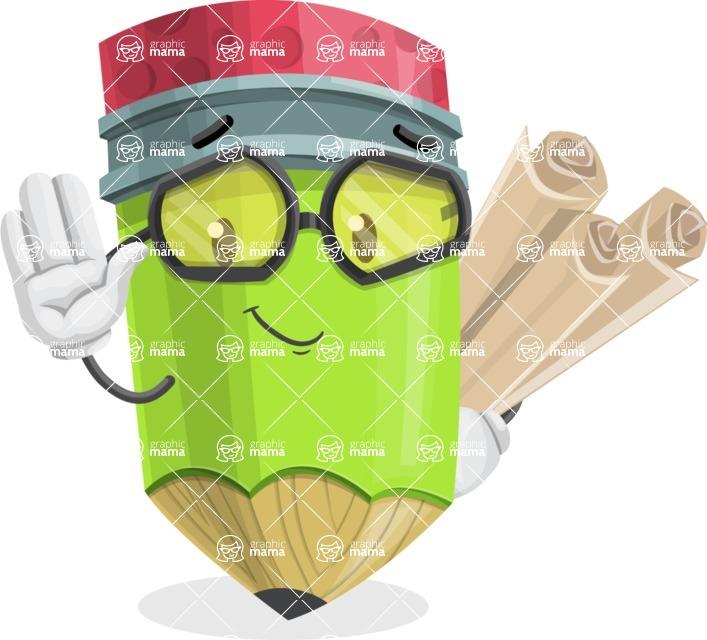Cute Pencil Cartoon Vector Character AKA Woody the Nerdy Pencil - Making Plans