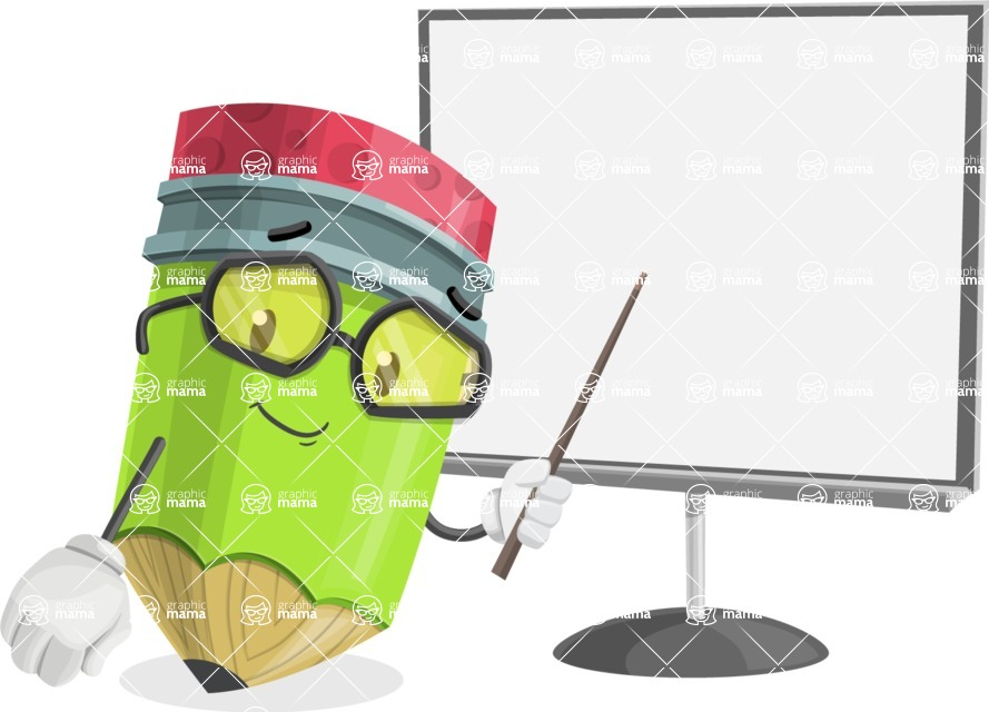 Cute Pencil Cartoon Vector Character AKA Woody the Nerdy Pencil - Pointing with a Pointer on Blank Presentation Board