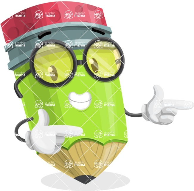 Cute Pencil Cartoon Vector Character AKA Woody the Nerdy Pencil - Pointing with Hands