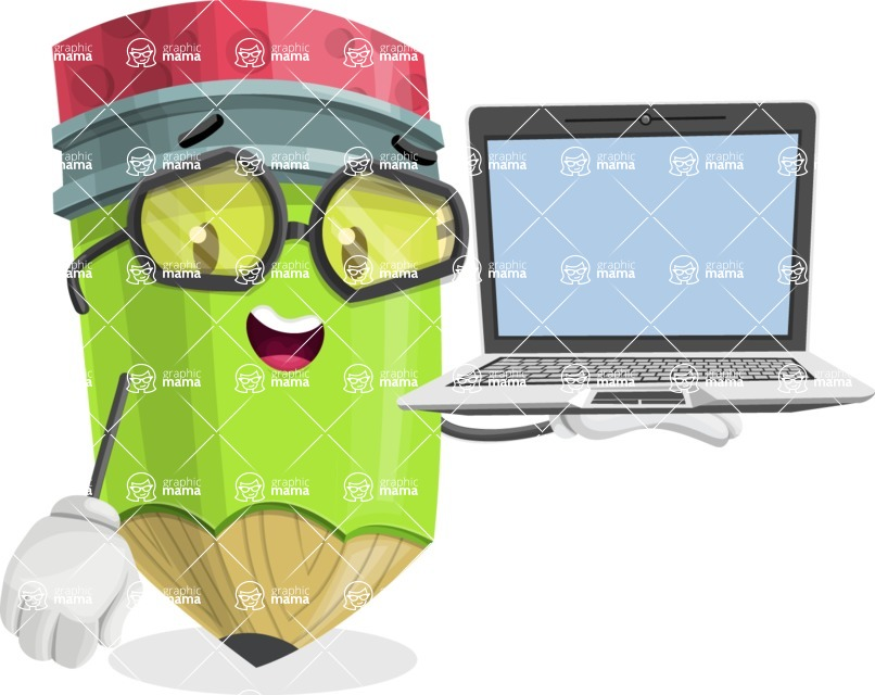 Cute Pencil Cartoon Vector Character AKA Woody the Nerdy Pencil - Presenting on Laptop