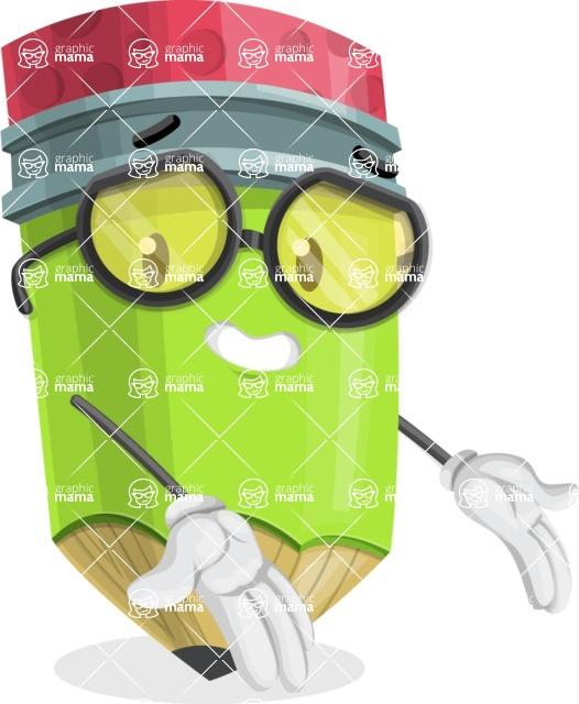 Cute Pencil Cartoon Vector Character AKA Woody the Nerdy Pencil - Presenting