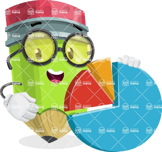 Cute Pencil Cartoon Vector Character AKA Woody the Nerdy Pencil - With a Business Pie Chart